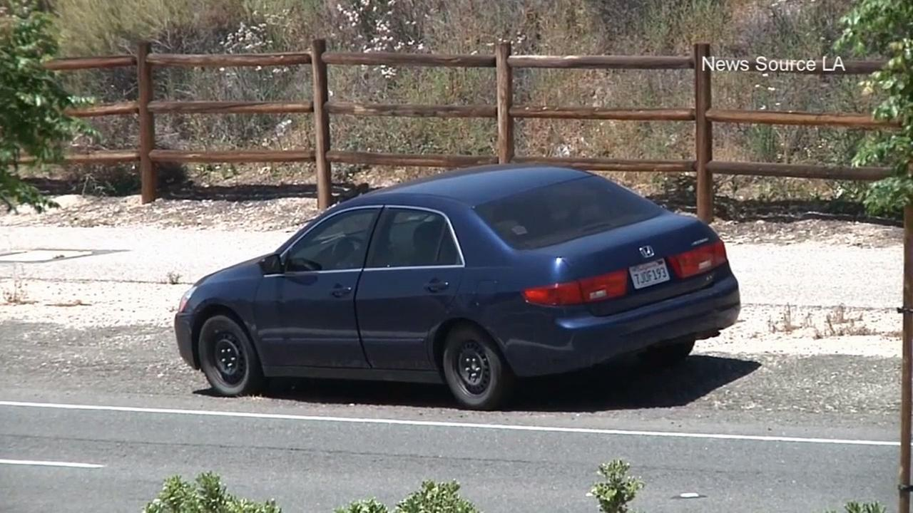 A mans body was found in the trunk of this blue Honda Accord in Canyon Country on Sunday, May 31, 2015.