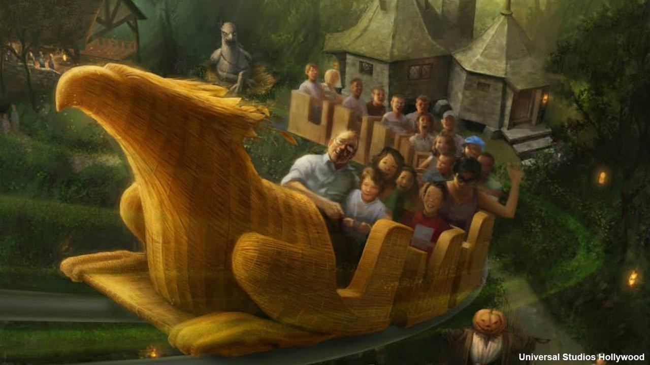 An artist rendering shows the Flight of the Hippogriff ride at The Wizarding World of Harry Potter, slated to open in spring 2016 at Universal Studios Hollywood.