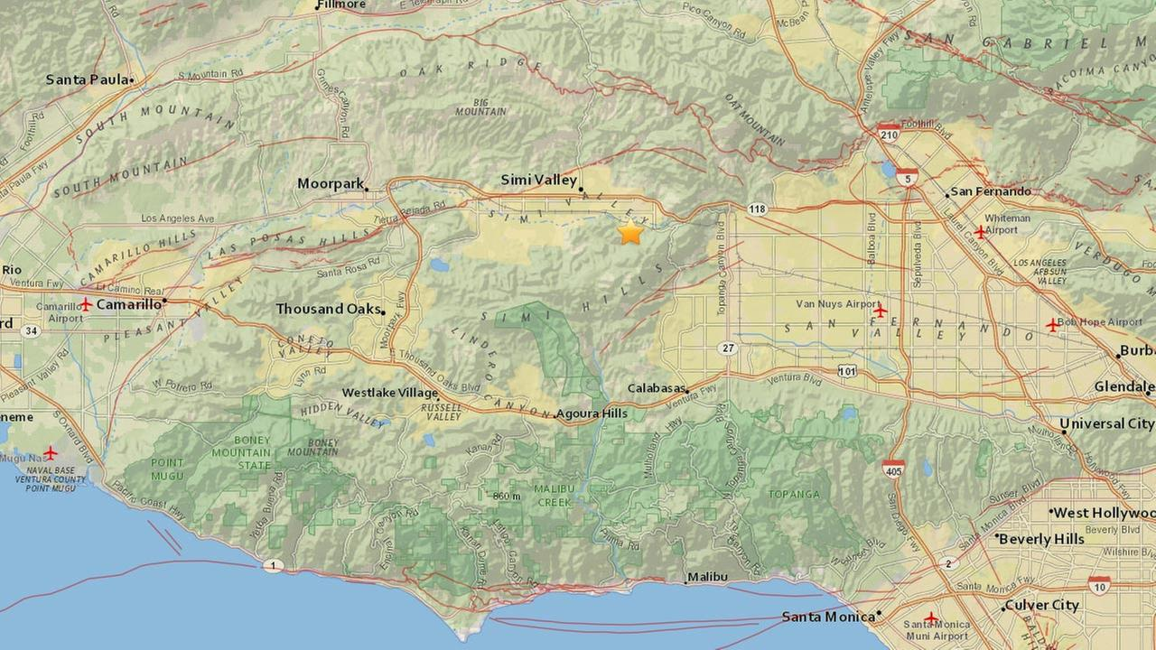 An earthquake with a preliminary magnitude of 2.7 struck about 4 miles east, south east of Simi Valley on Tuesday, June 2, 2015.