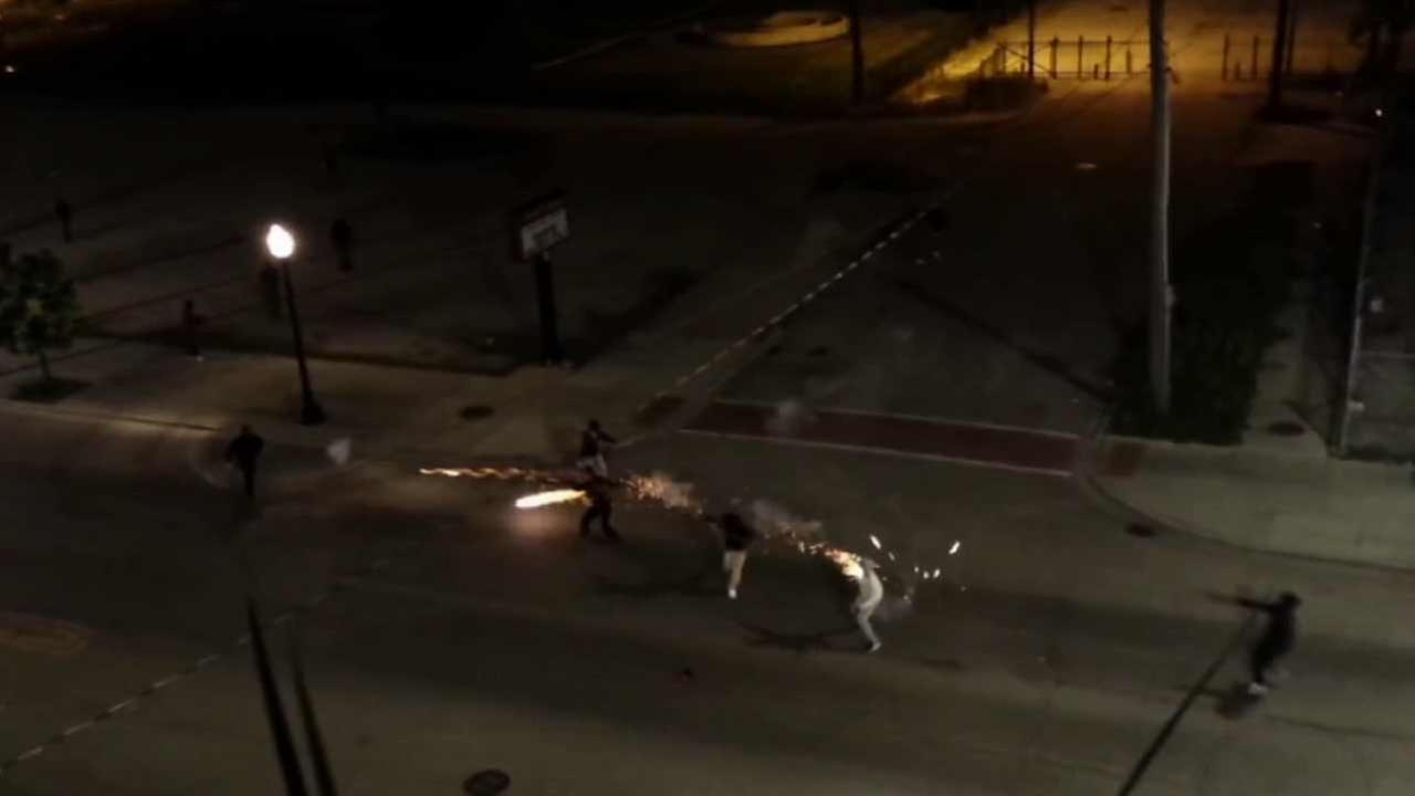 A video posted on YouTube appears to show several people attacking each other with fireworks on Chicagos West Side.