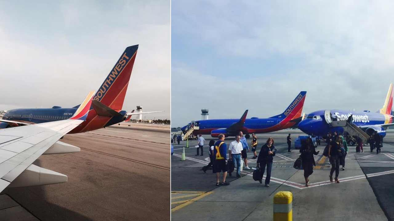 Officials are investigating a minor accident involving two Southwest Airlines planes at Bob Hope Airport in Burbank Saturday, June 6, 2015.