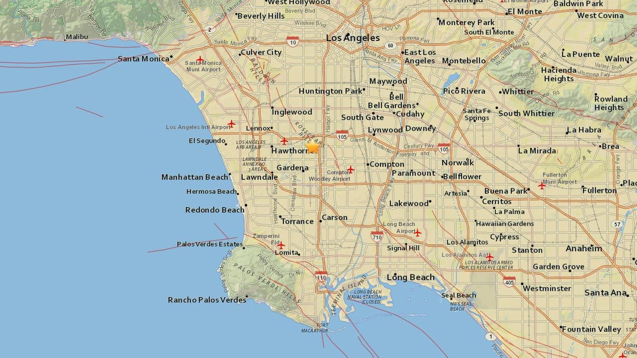 A preliminary magnitude 3.4 earthquake struck about 2 miles north, northeast of Gardena Saturday, June 6, 2015.