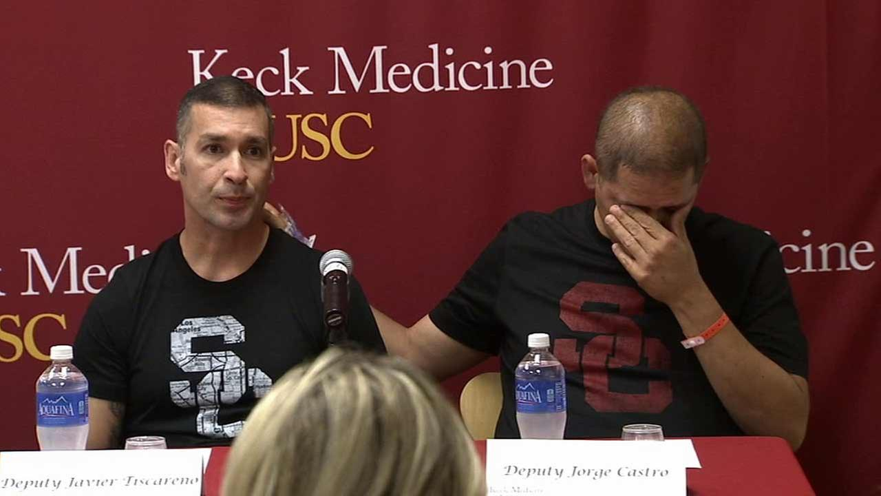 A Los Angeles County sheriffs deputy who received a life-saving liver transplant thanked his colleague Thursday, who donated part of his own liver for the surgery.