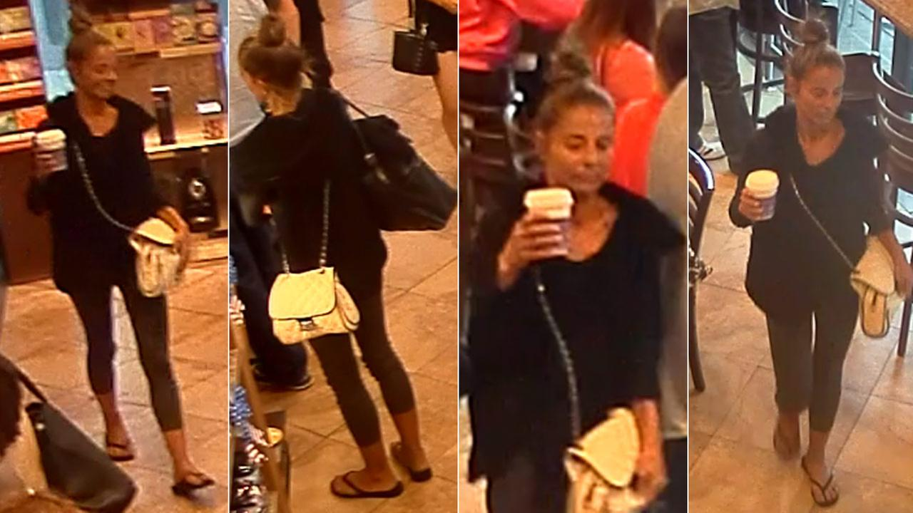 Santa Monica police released these photos of a woman suspected of beating a tourist at a Coffee Bean and Tea Leaf.