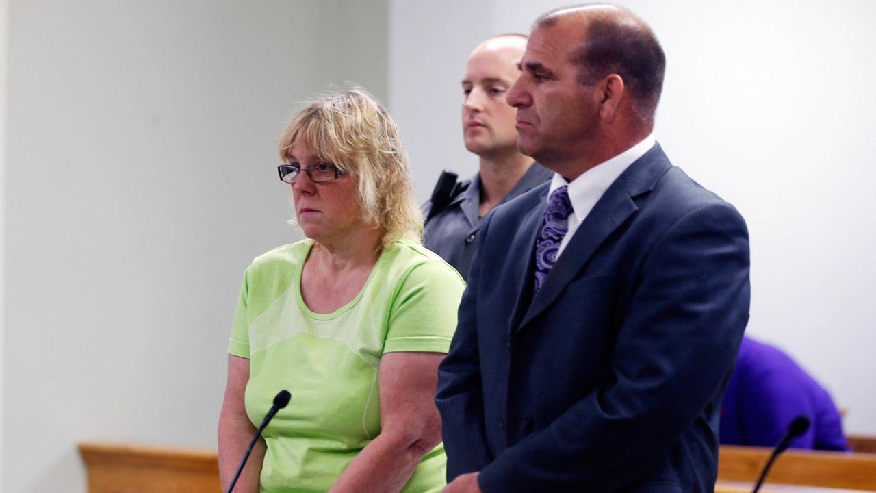 Joyce Mitchell is arraigned in City Court on Friday, June 12, 2015, in Plattsburgh, N.Y. Mitchell is accused of helping two murderers escape from Clinton Correctional Facility.