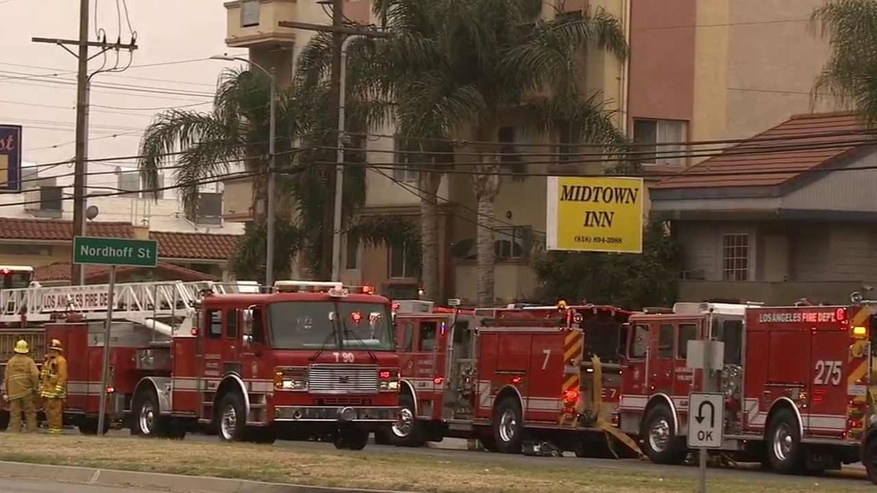 Los Angeles firefighters respond to a fire at a two-story motel in the 9100 block of N. Sepulveda Boulevard in North Hills Sunday, June 14, 2015.