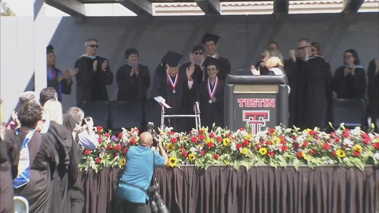 Donning caps and gowns, George and Miko Kaihara earned a high school diploma from their original alma mater in Tustin Thursday, June 18, 2015.