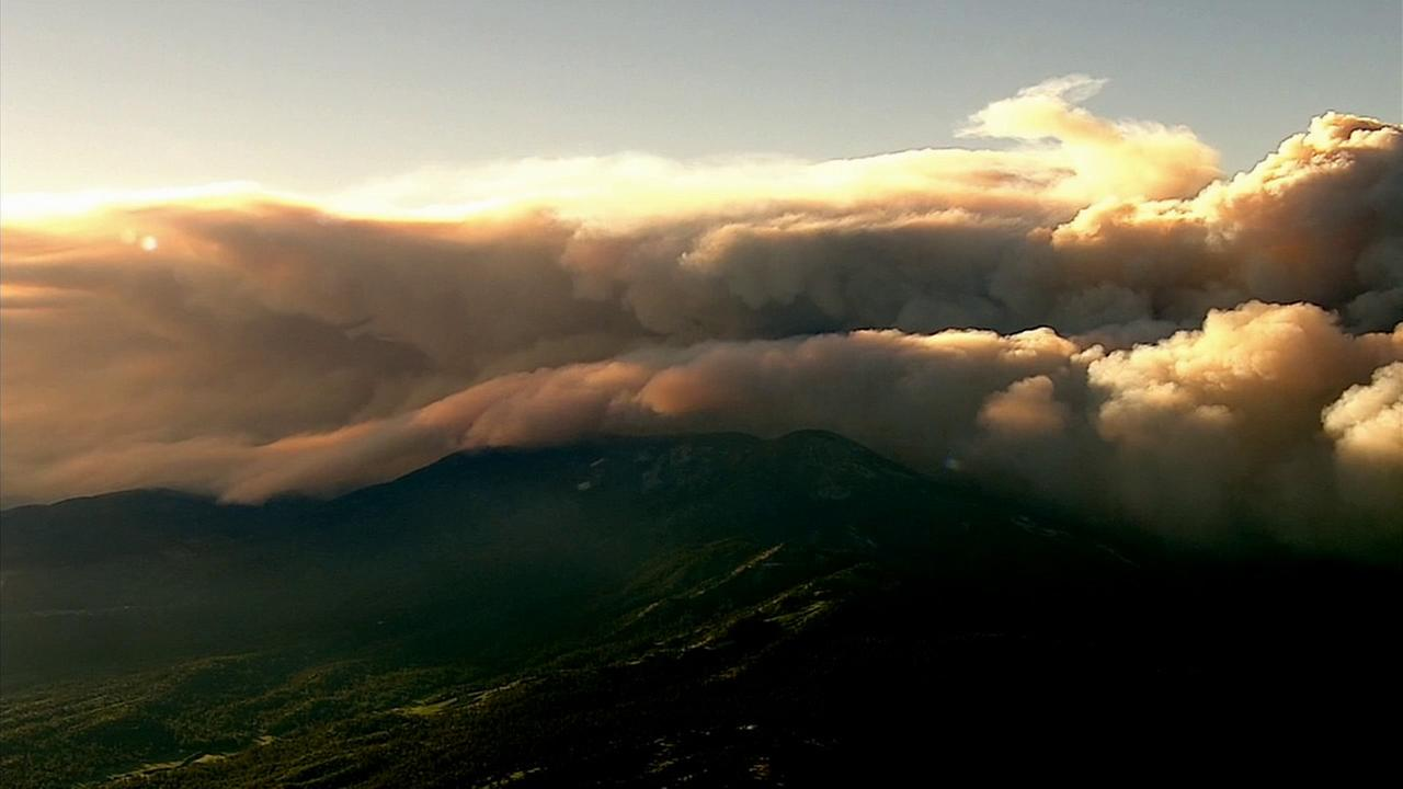 Smoke from the massive Lake Fire is seen over the San Bernardino National Forest on Friday, June 19, 2015.