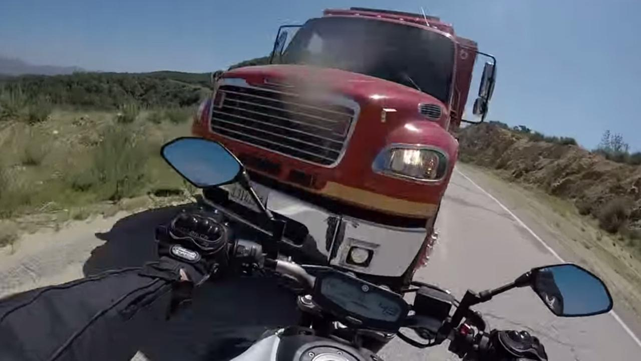 A motorcycle ride came to a dramatic end when the cyclist crashed head-on into a Los Angeles County Fire Department truck on a mountain road in the Angeles National Forest.