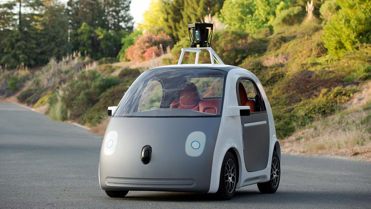 This image provided by Google shows a very early version of Googles prototype self-driving car.
