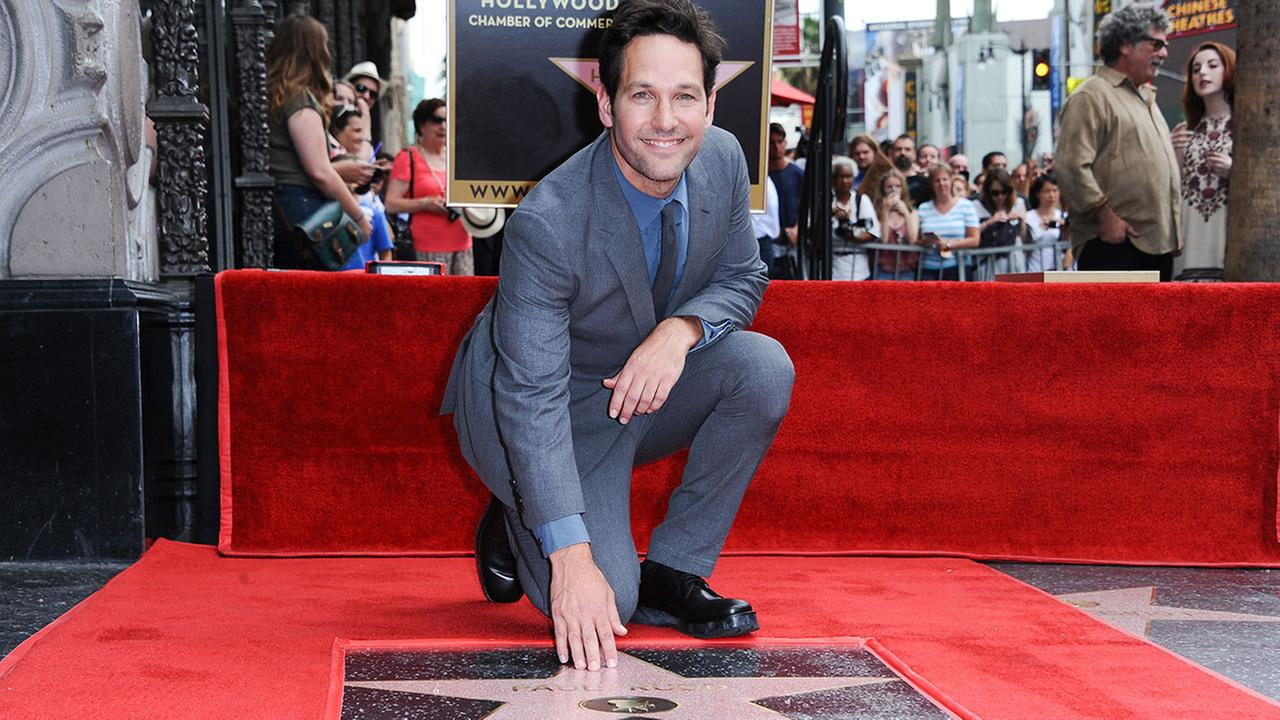Paul Rudd is honored with a star on the Hollywood Walk of Fame on Wednesday, July 1, 2015, in Los Angeles.