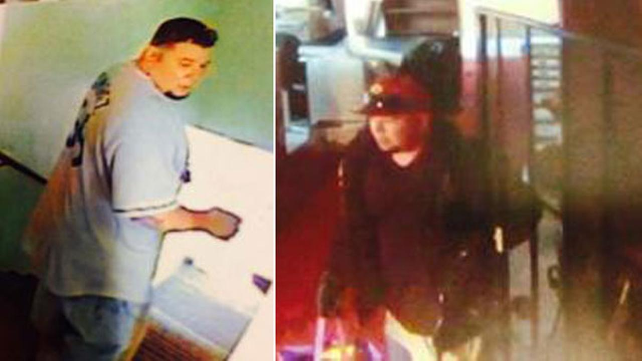 A thief targeting local churches is seen in these two surveillance images from the Los Angeles County Sheriffs Department.