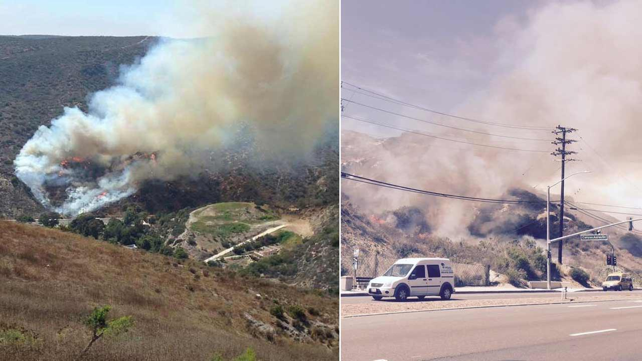 A brush fire erupted in the 1900 block of Laguna Canyon Road in Laguna Beach Friday, July 3, 2015.