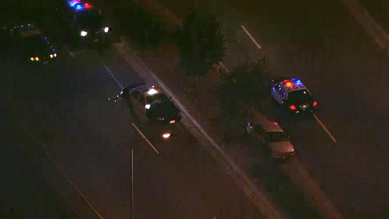 Two Los Angeles County sheriffs deputies were hospitalized following a crash near Alameda Street and Wilmington Avenue in Carson Thursday, July 9, 2015.