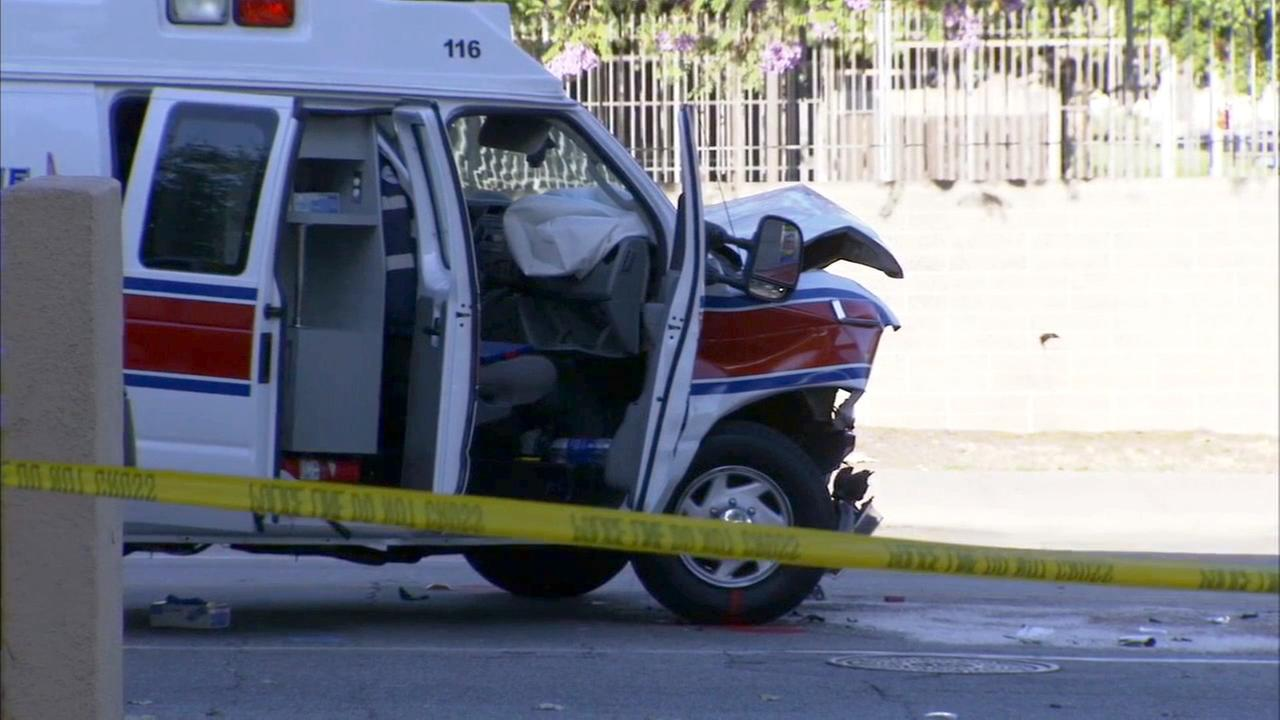 A man died after the private ambulance he was being transported in crashed into a four-door sedan in Pasadena on Saturday, July 11, 2015.