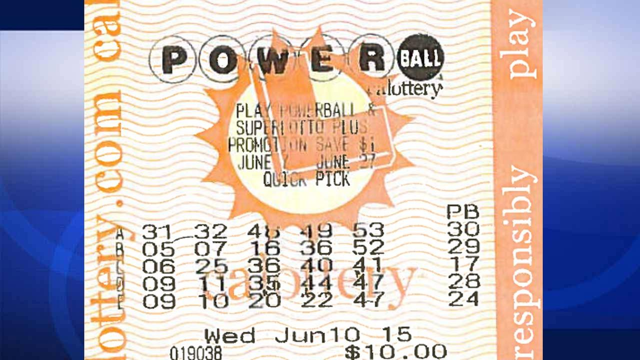 Image of Richard Dennings winning Powerball ticket. Denning won $1,109,553 by matching five of six numbers on line A for the June 10, 2015 drawing.
