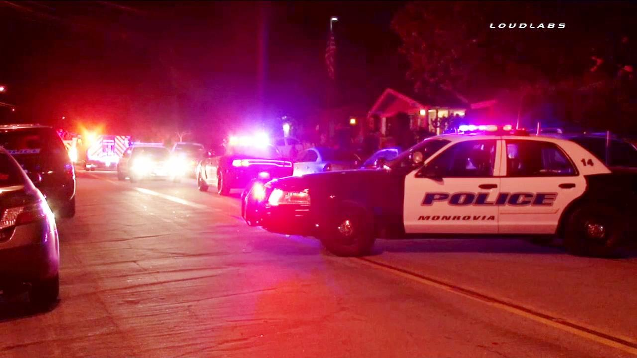 A law enforcement patrol vehicle is shown near the scene of a shooting on the 100 block of North Grand Avenue in Monrovia on Friday, July 17, 2015.