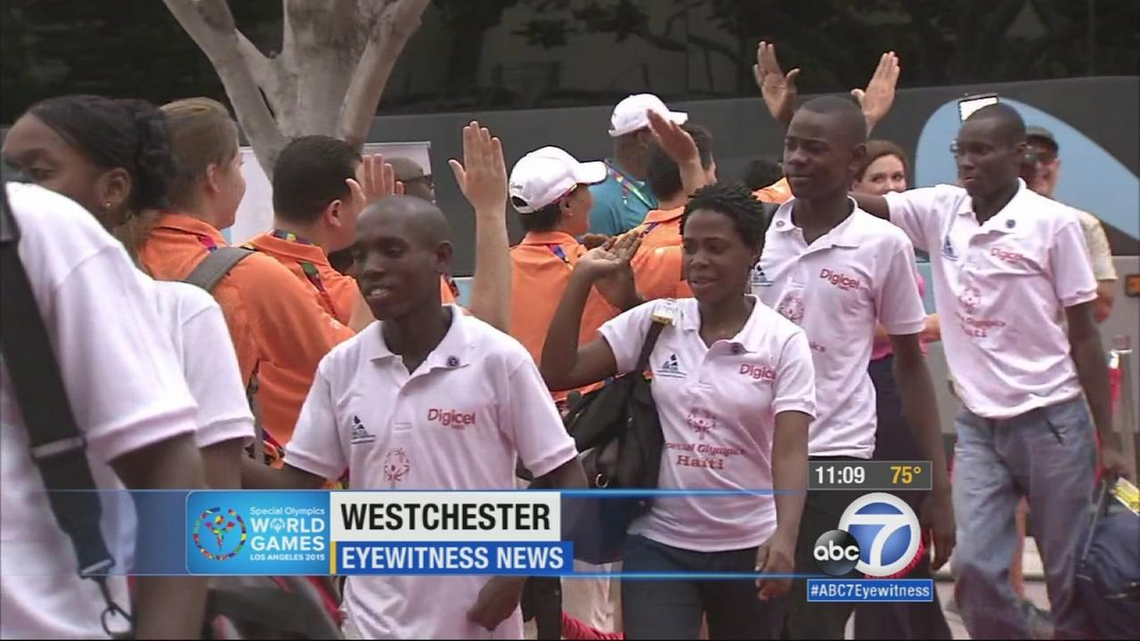 Athletes arriving in Los Angeles for the 2015 Special Olympics World Games received a red carpet welcome on Tuesday, July 21, 2015.