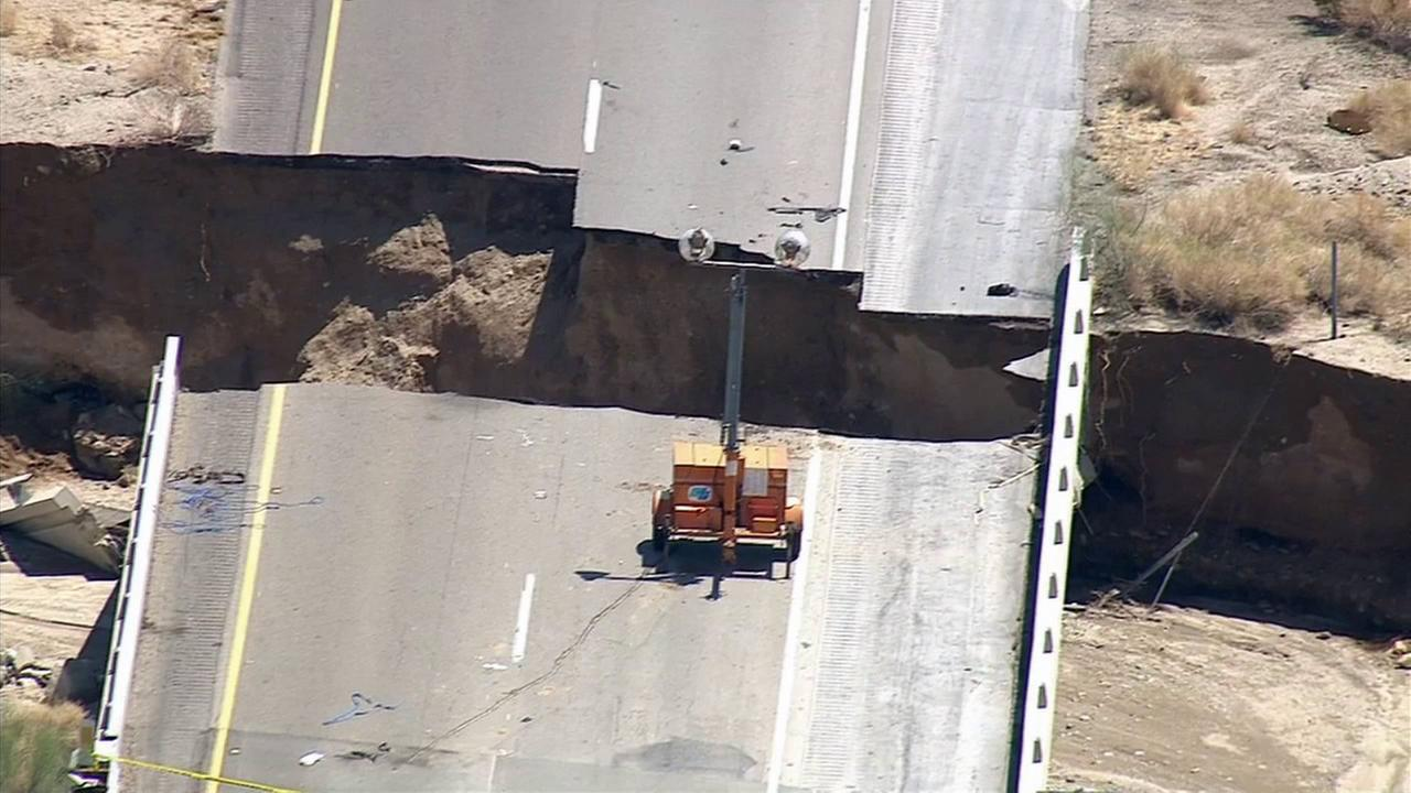 A section of Interstate 10 collapsed at the Tex Wash Bridge on July 19, 2015.