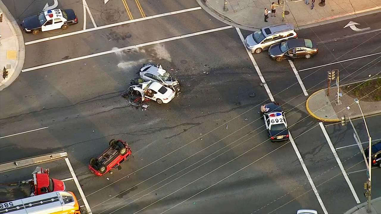 One person was killed and two people were transported to an area hospital following a crash involving seven vehicles in Rosemead on Friday, July, 24, 2015.