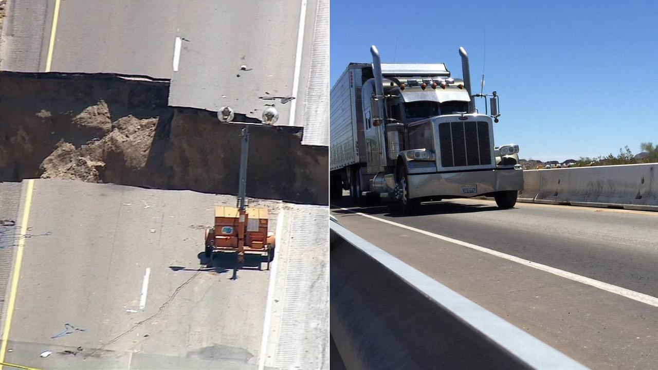 One side of the Tex Wash Bridge on Interstate 10, which suffered heavy damage during the recent storm, reopened to limited traffic on Friday, July 24, 2015.