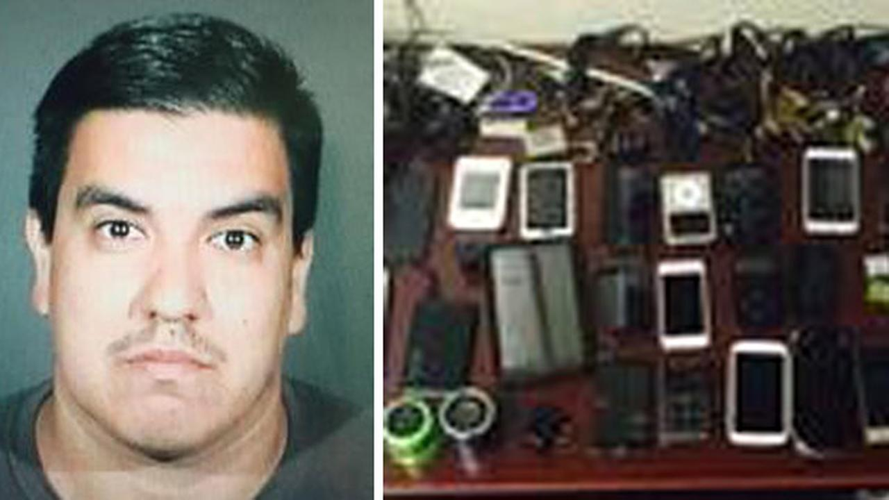 Israel Padilla, left, is shown alongside a photo the hundreds of electronic items he is suspected of stealing.