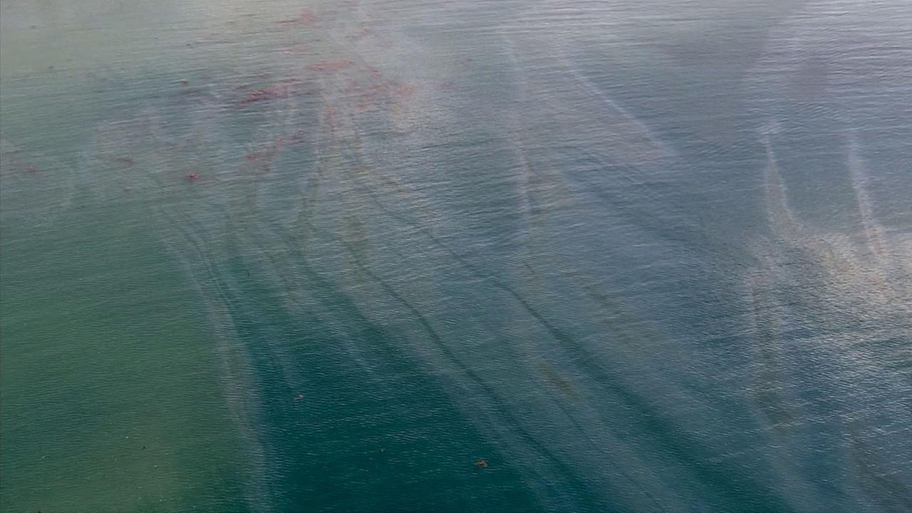 An oil slick was spotted about 1,000 feet off the shore of Goleta Beach on Wednesday, July 29, 2015.