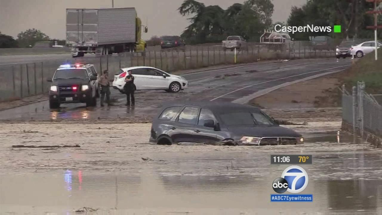 A driver was trapped by fast-moving water in Calimesa on Thursday, July 30, 2015.
