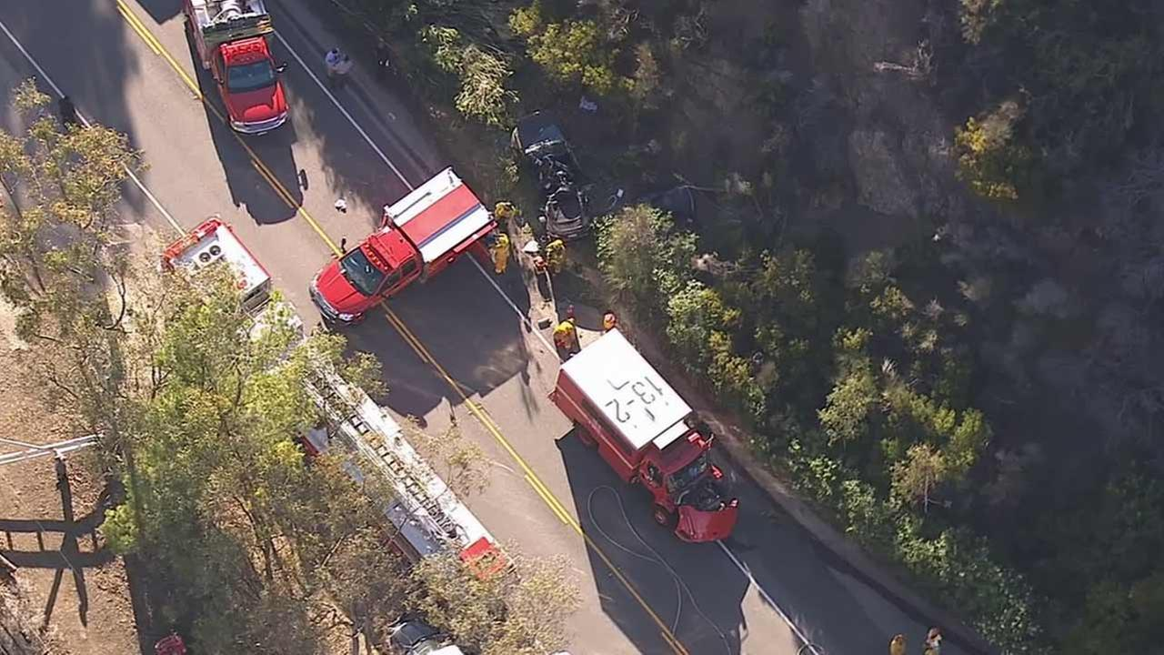A Los Angeles County fire truck was involved in a fatal crash near Mulholland Highway and Kanan Dume Road in Agoura Hills Friday, July 31, 2015.