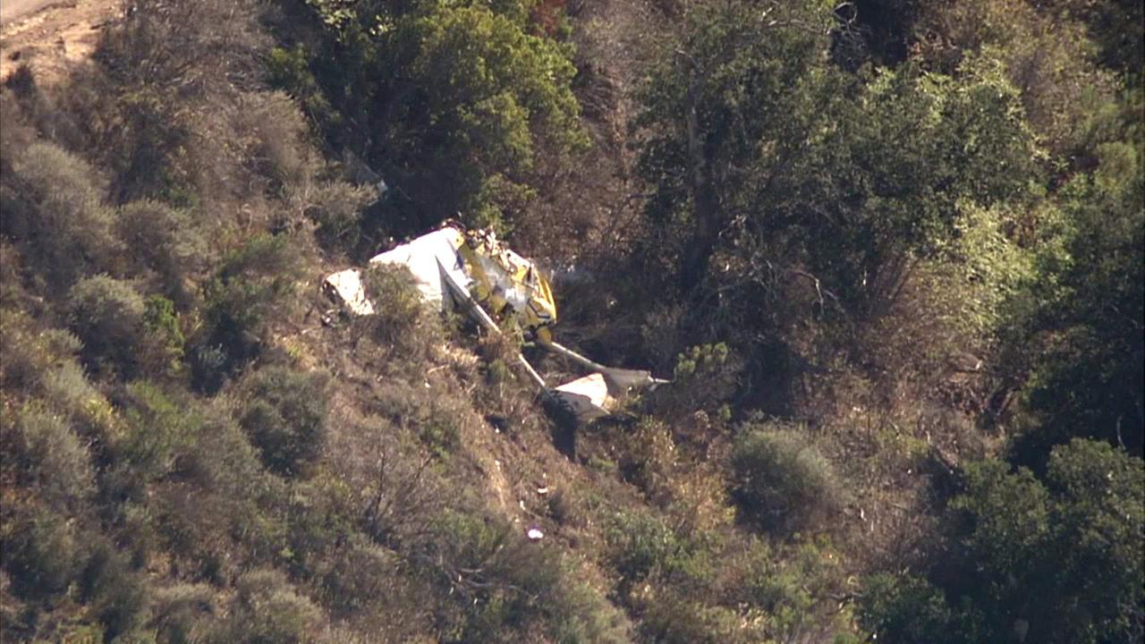 A single-engine plane crashed at South Mountain in Santa Paula on Saturday, Aug. 1, 2015.