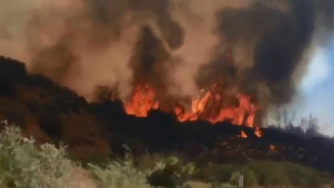 An ABC7 viewer captured footage of the flames on the hillside in Los Padres National Forest on Sunday, Aug, 2, 2015.