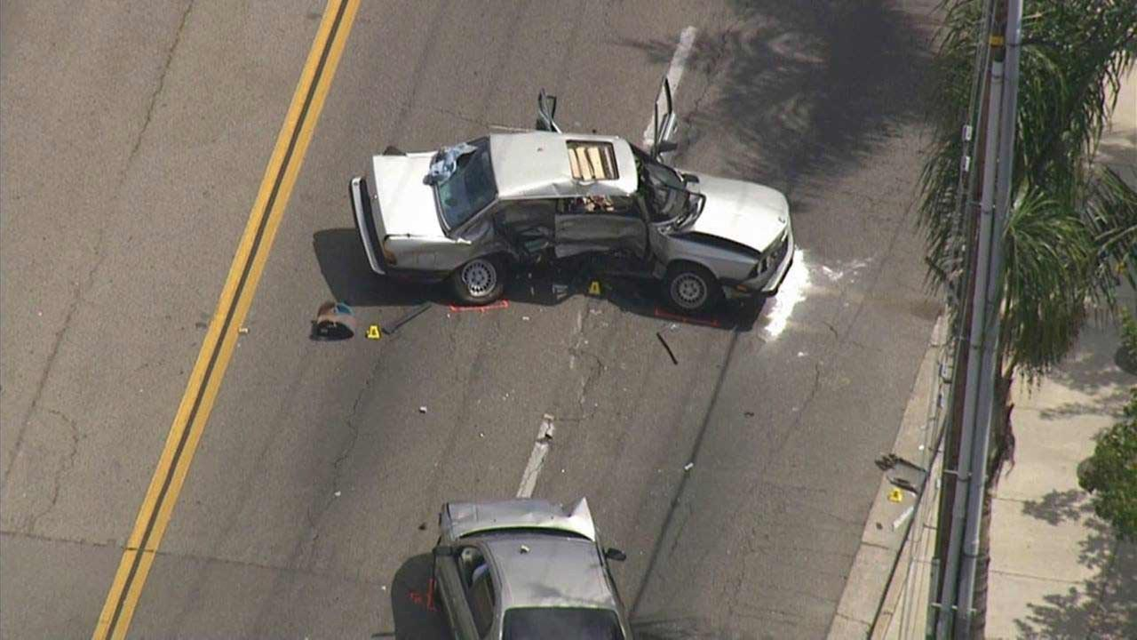 A 6-year-old boy died after being critically injured in a crash involving two alleged DUI drivers near Bristol Street and W. St. Andrew Place in Santa Ana on Monday, Aug. 3, 2015.