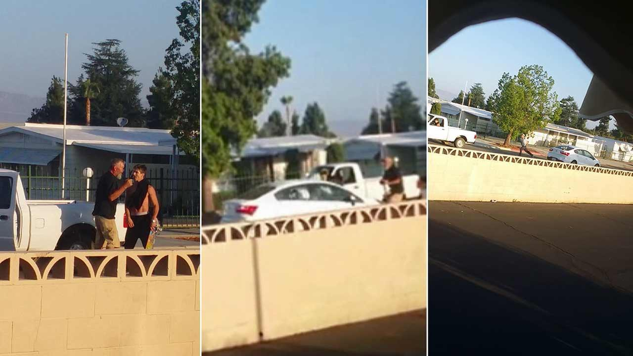 Hemet police are searching for two suspects in connection to a road rage incident in the 1400 block of S. Gilbert Street in Hemet Friday, July 31, 2015.