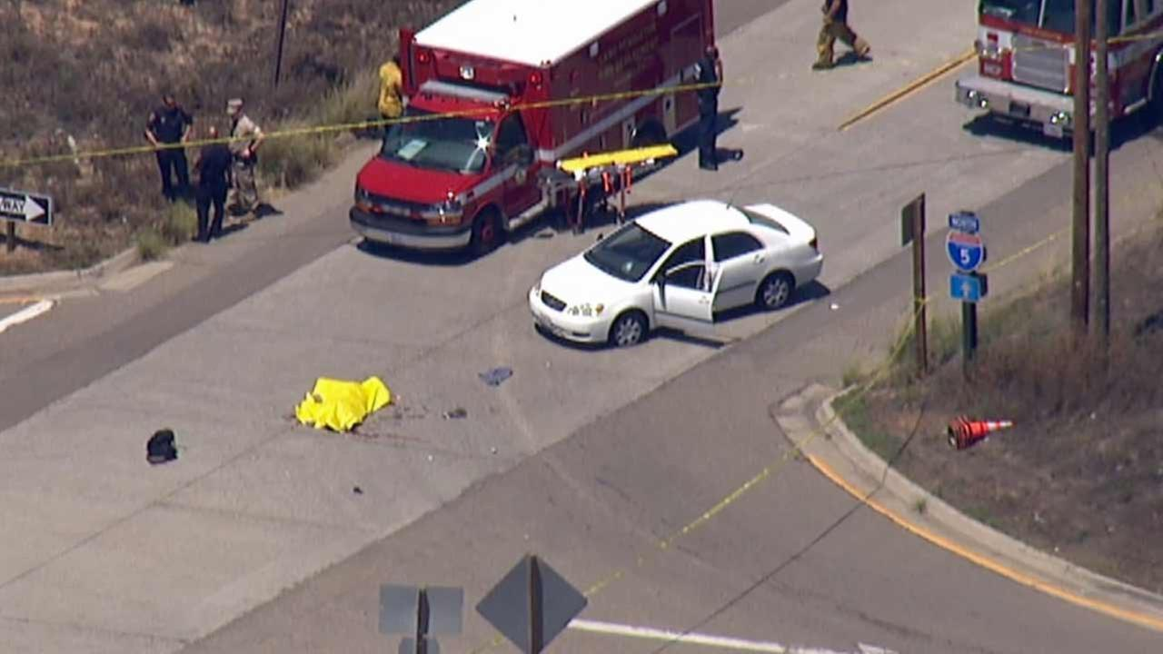 A suspect was fatally shot by sheriffs deputies near the Las Pulgas Road offramp of the southbound 5 Freeway in the Camp Pendleton area Tuesday, Aug. 4, 2015.