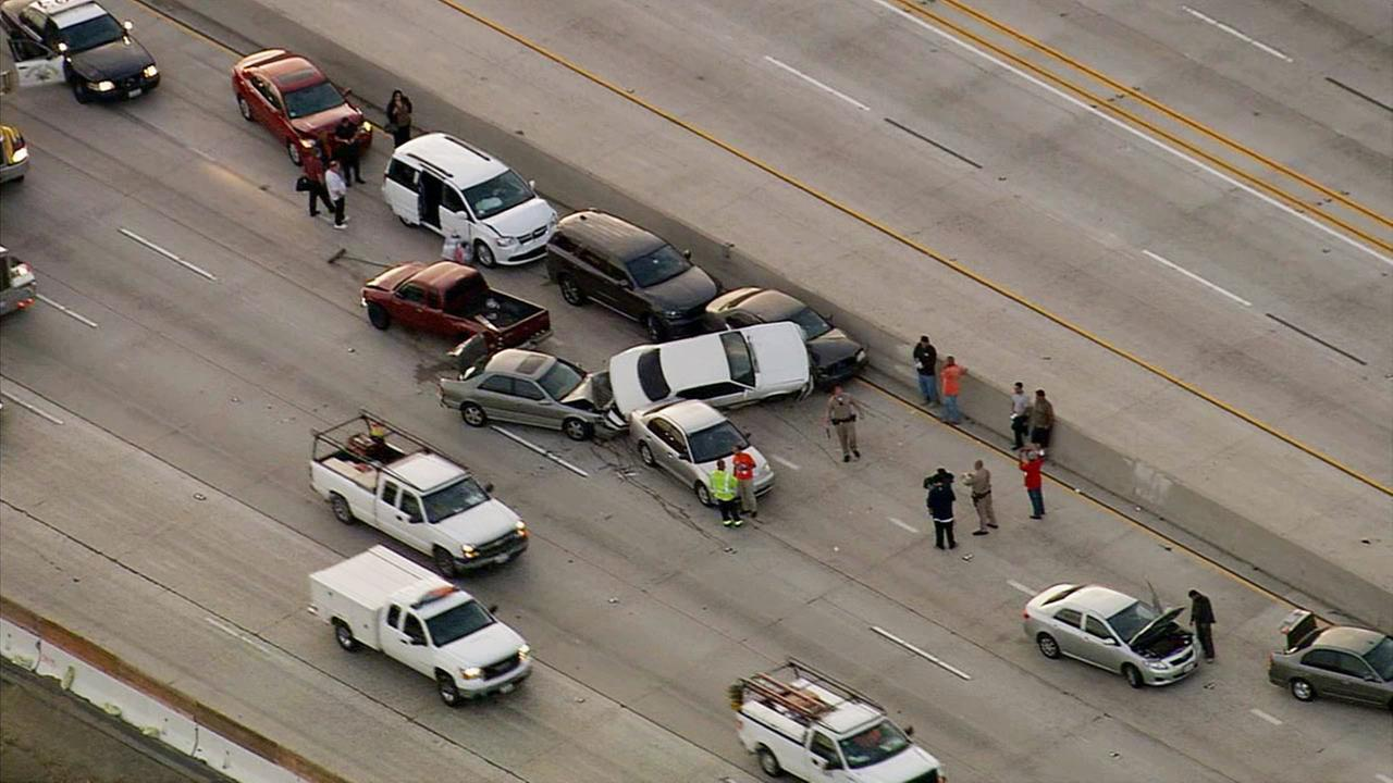 At least 12 vehicles were involved in a pileup on the westbound 91 Freeway in Corona on Thursday, Aug. 6, 2015.