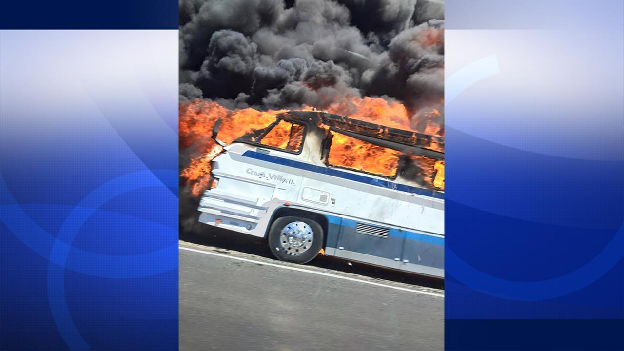 A motor home catches fire in Anza on Monday, Aug. 10, 2015.