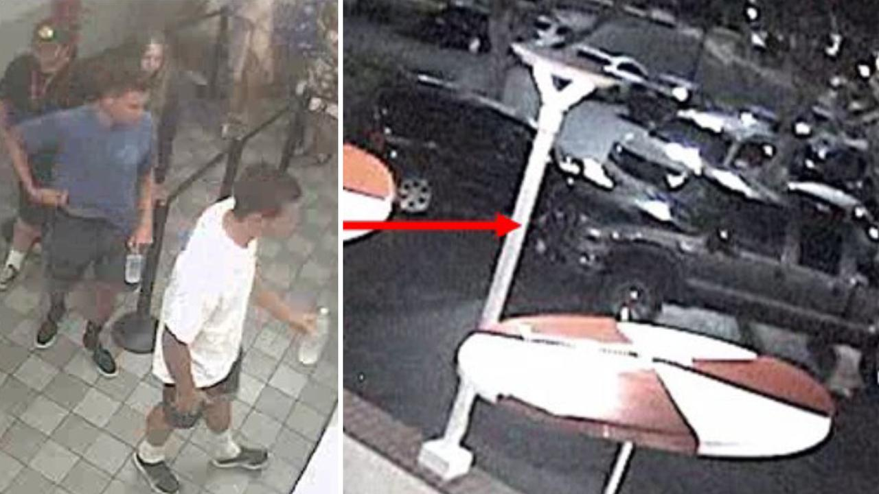 Four persons of interest wanted in a Newport Beach movie theater prank (left) are linked with a silver Ford pickup truck (right).