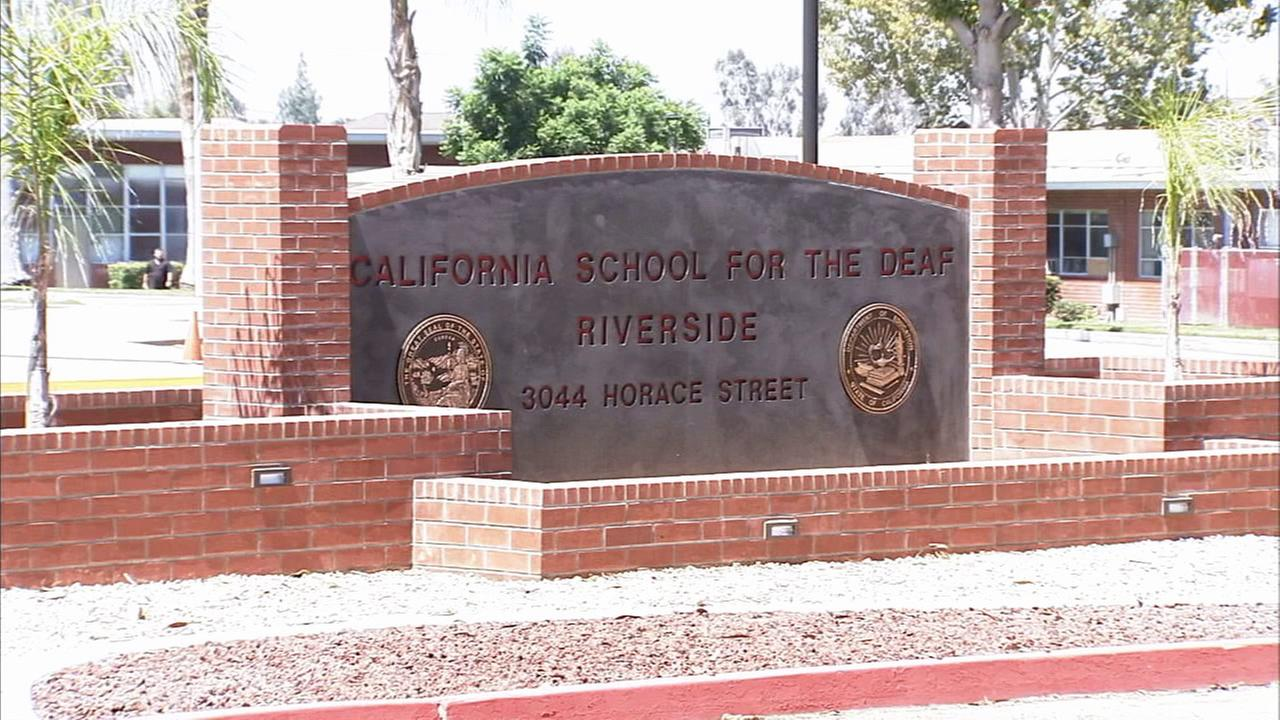 A sign for California School for the Deaf in Riverside is shown in this file photo.