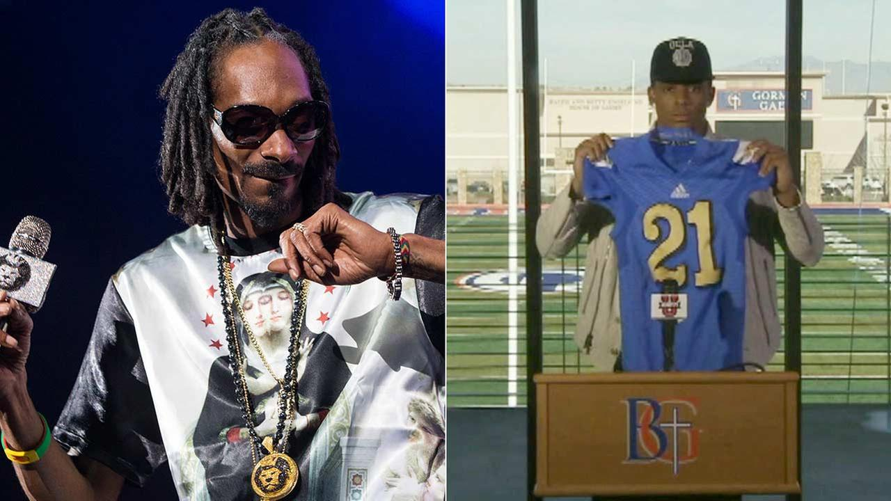 Cordell Broadus, right, the son of Snoop Dogg, seen performing in Irvine in this 2013 photo, is quitting UCLAs football team to focus on pursuing a career in film production.