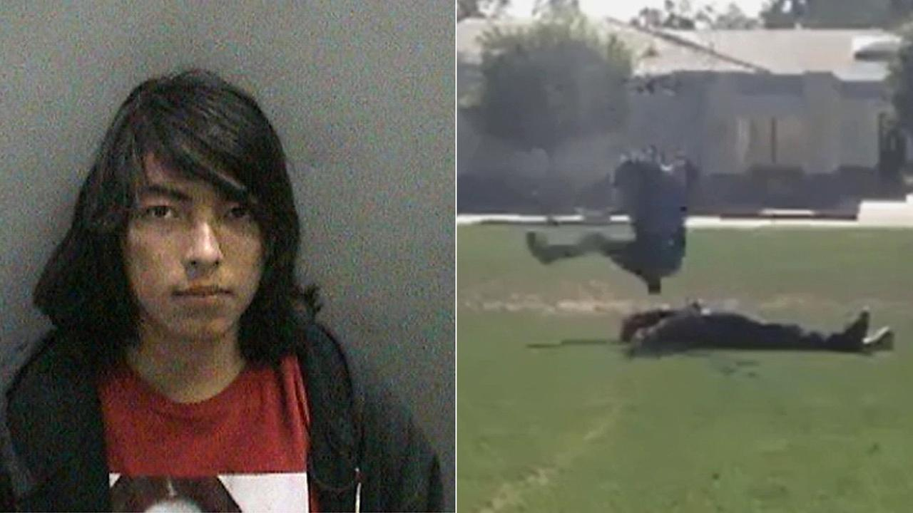 (Right) Robert Ayala is seen in this booking photo provided by the O.C. Sheriffs Department. (Left) This video still shows a suspect slamming his body down on the victim.