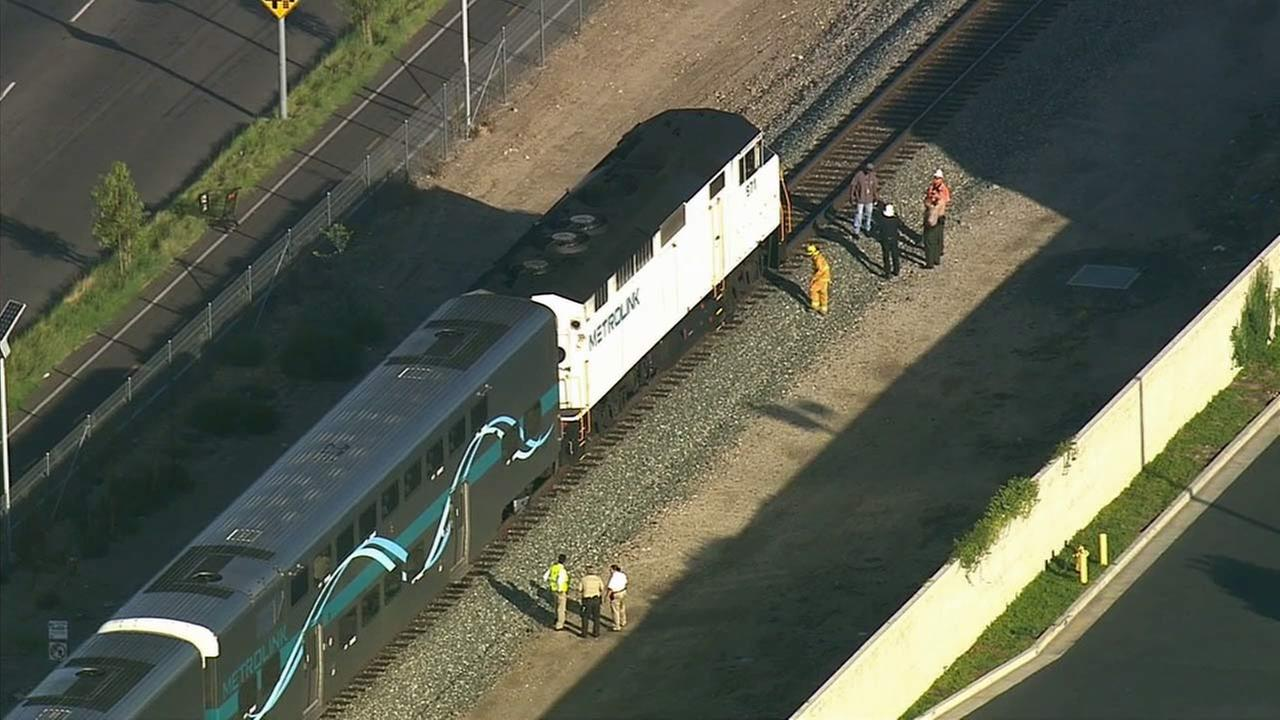 A person was killed after getting struck by a Metrolink train on the tracks in Pacoima on Monday, Aug. 17, 2015.