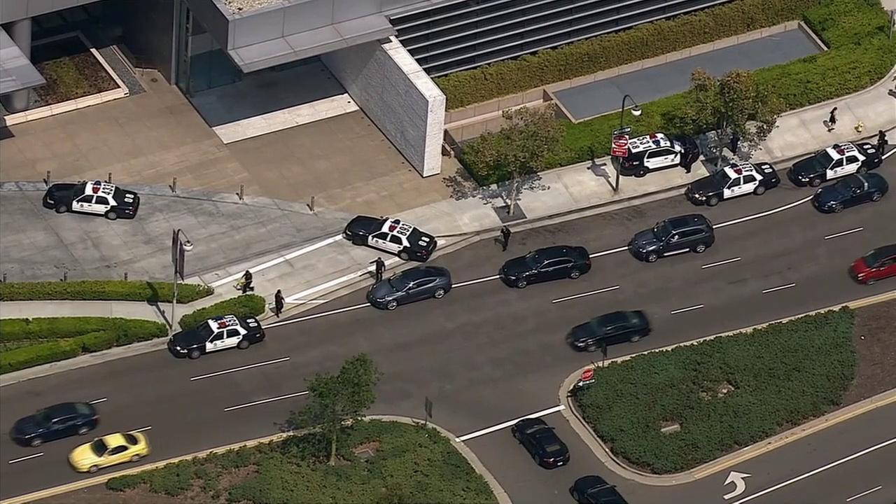 LAPD investigates a suspicious package in Century City on Wednesday, Aug. 19, 2015.
