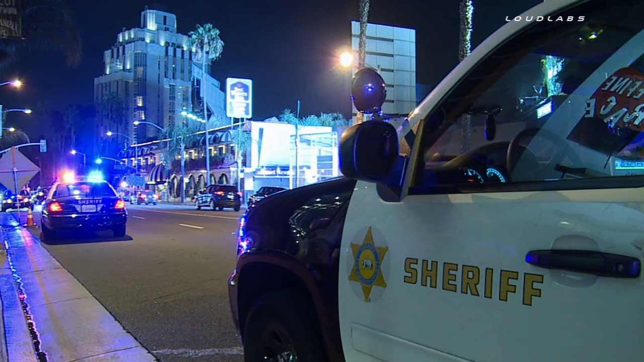 Los Angeles County sheriffs deputies respond to an accidental shooting at the Andaz West Hollywood Hotel on Thursday, Aug. 20, 2015.