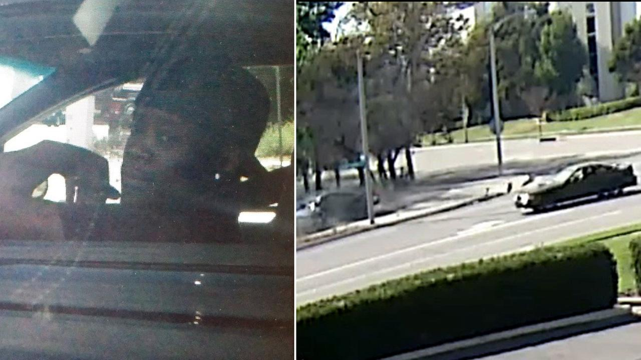 A second suspect sought in a fatal street racing accident is shown above alongside surveillance footage of a black Ford Mustang fleeing the scene on Wednesday, Sept. 2, 2015.