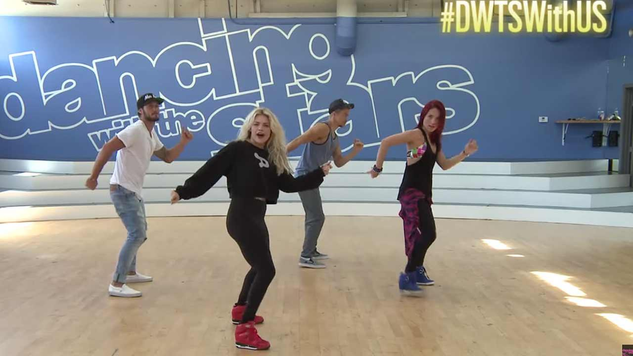 Dancing With the Stars pros Val Chmerkovskiy, Witney Carson, Derek Hough and Sharna Burgess teach fans the steps.