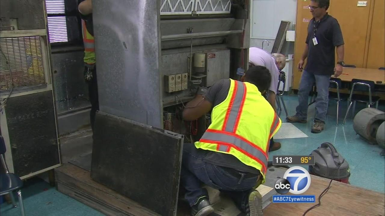 Twenty-five second-grade students at 24th Street Elementary School in the West Adams district of Los Angeles were relocated to another classroom after their air conditioning unit broke down during a late-summer heat wave.
