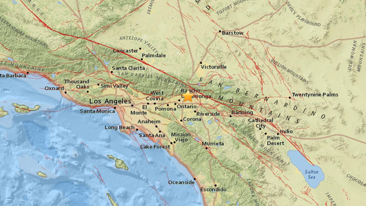 A map shows the epicenter of a 3.1-magnitude earthquake that struck 4 miles away from Fontana on Friday, Sept. 11, 2015.