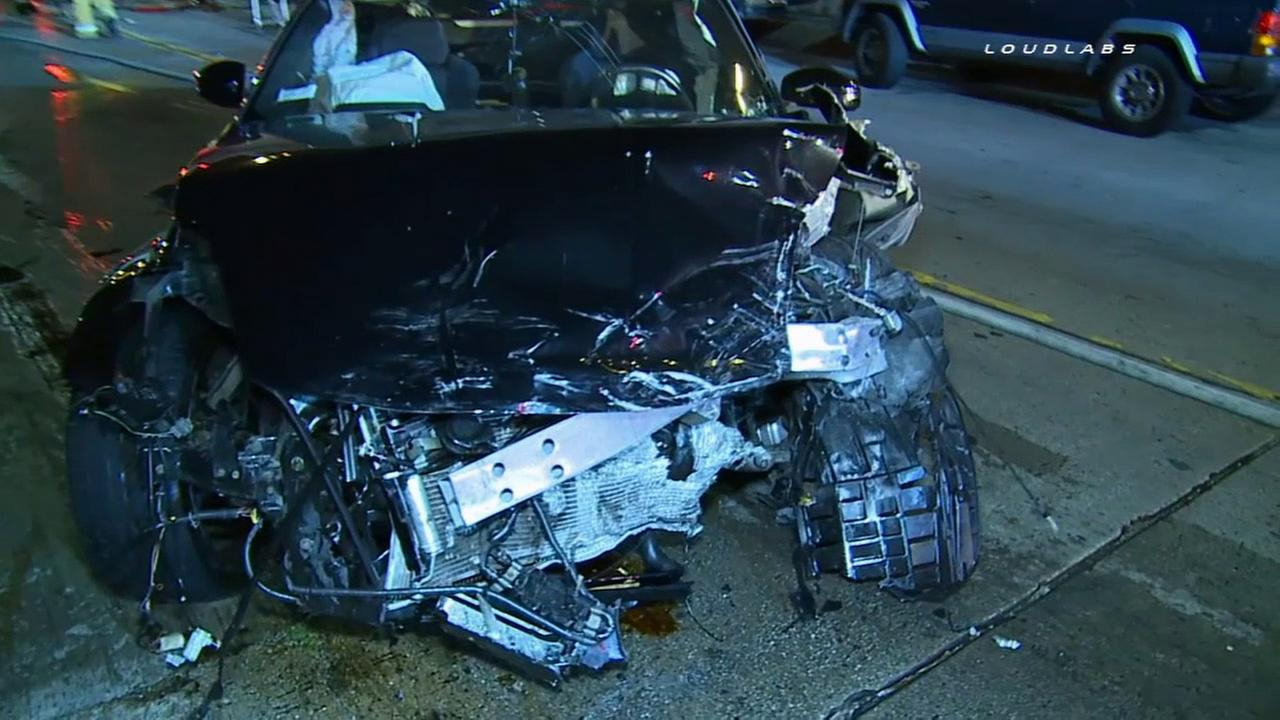A Nissan 370Z lost control and struck a vehicle head-on in Boyle Heights, leaving an innocent driver in critical condition Saturday, Sept. 12, 2015.