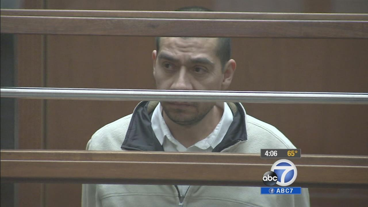 Gabriel Campos Martinez appears in a Los Angeles courtroom for an arraignment hearing on March 24, 2014.