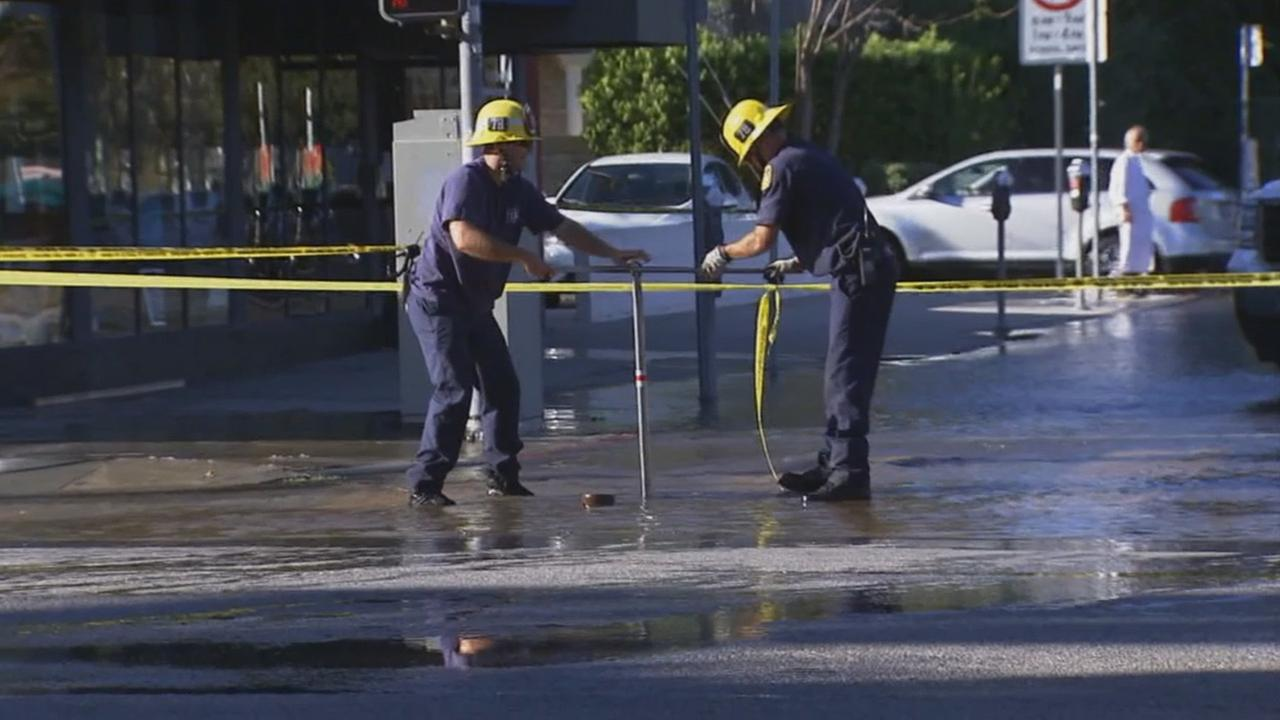 A water-main break in the 14300 block of Ventura Boulevard in Sherman Oaks sent water into the street on Saturday, Sept. 19, 2015.